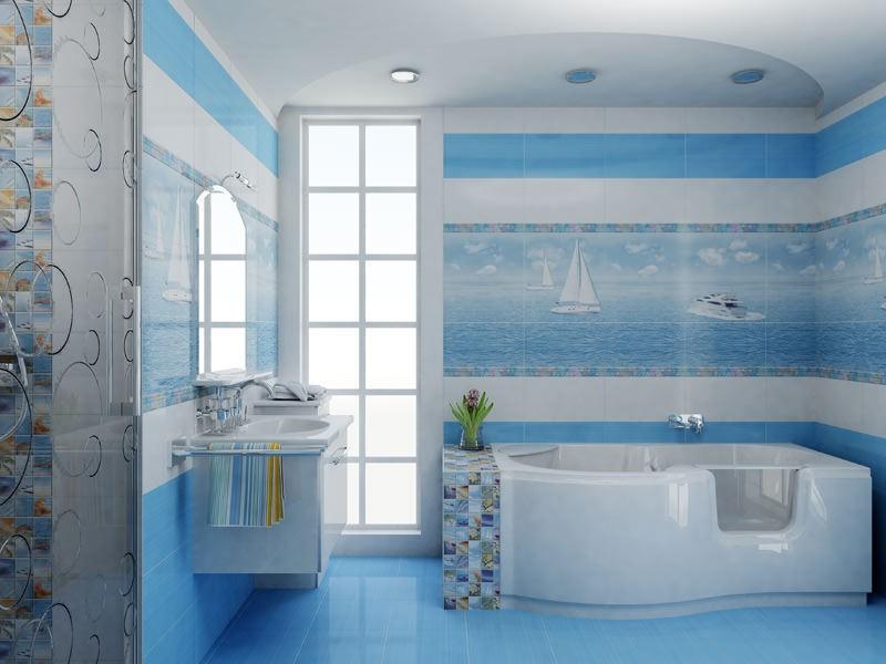 Ванна в бело-голубых тонах