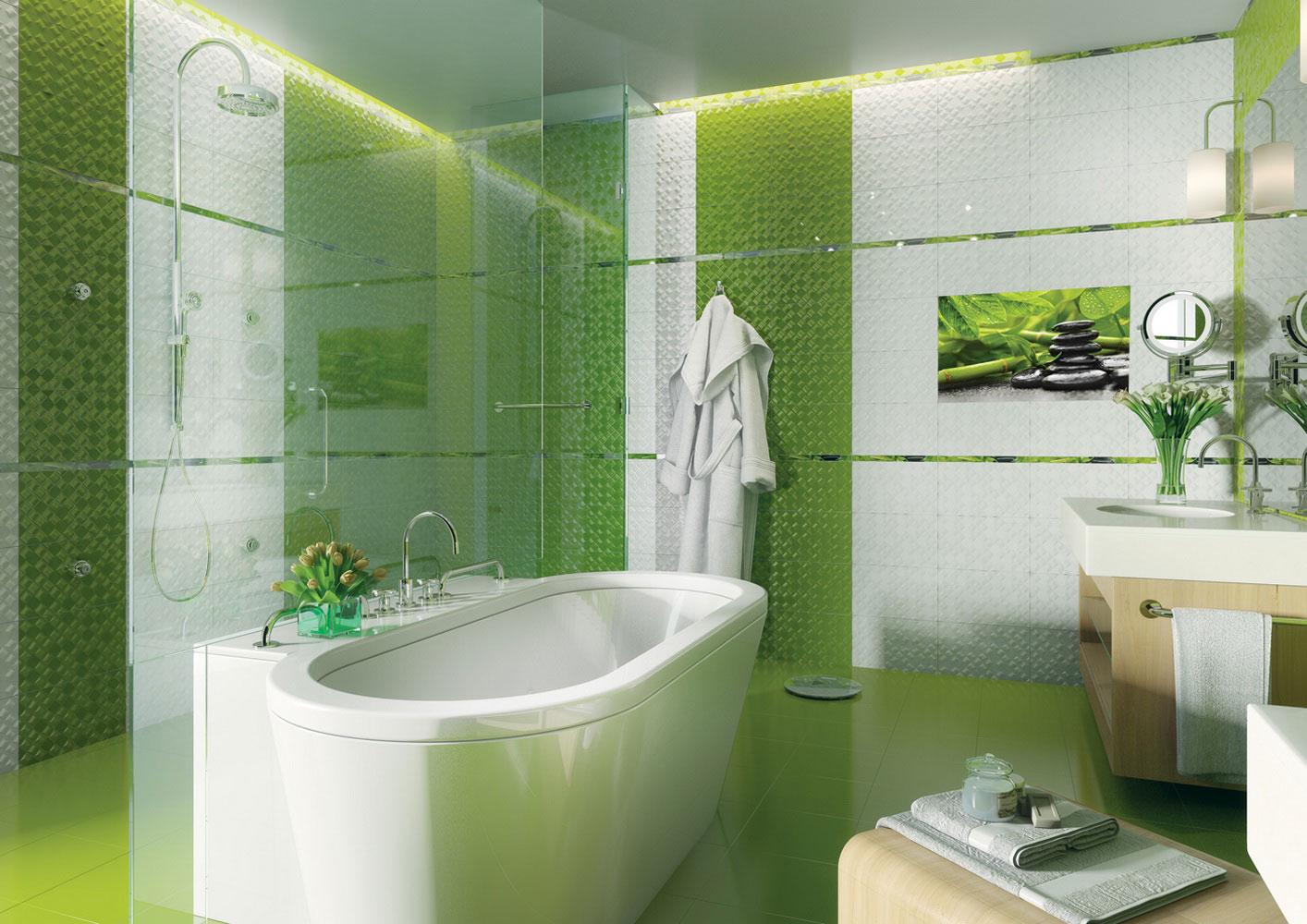 Ванна с зеленым цветом