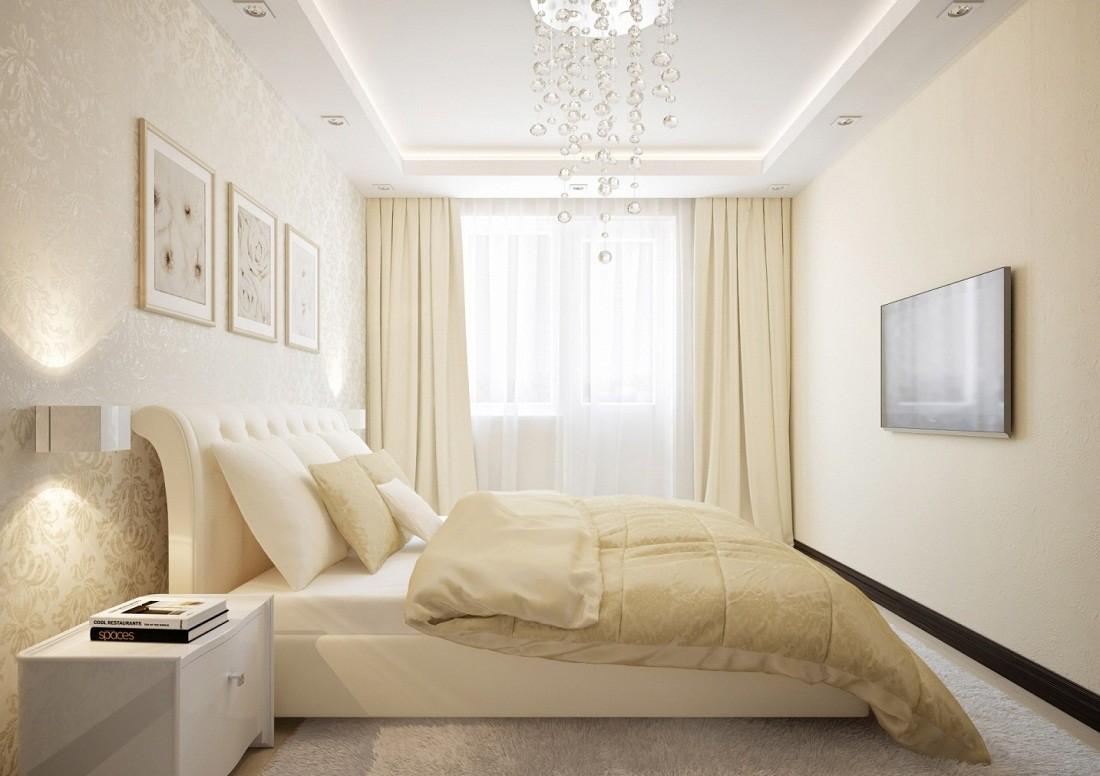 Узкая спальня в светлых тонах
