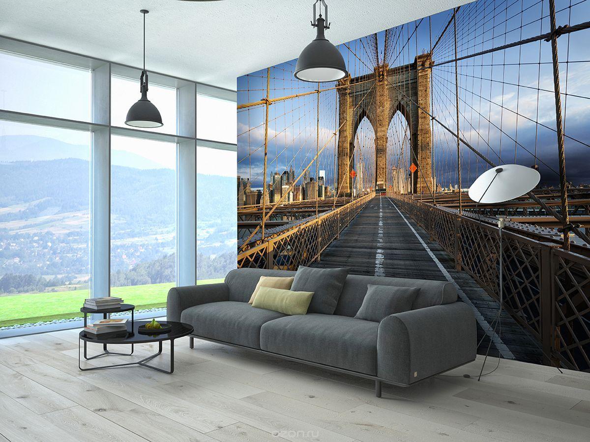 Фотообои мост в гостиной