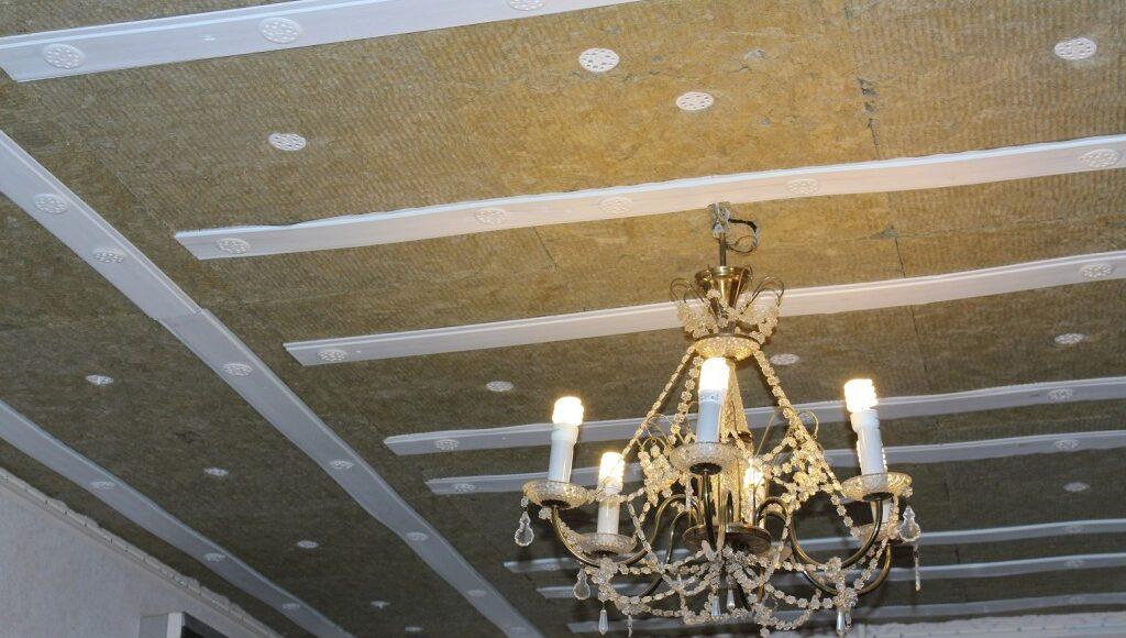Монтаж звукоизоляции подвесного потолка