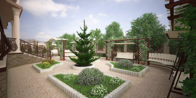 Организация места для отдыха на переднем дворе дома