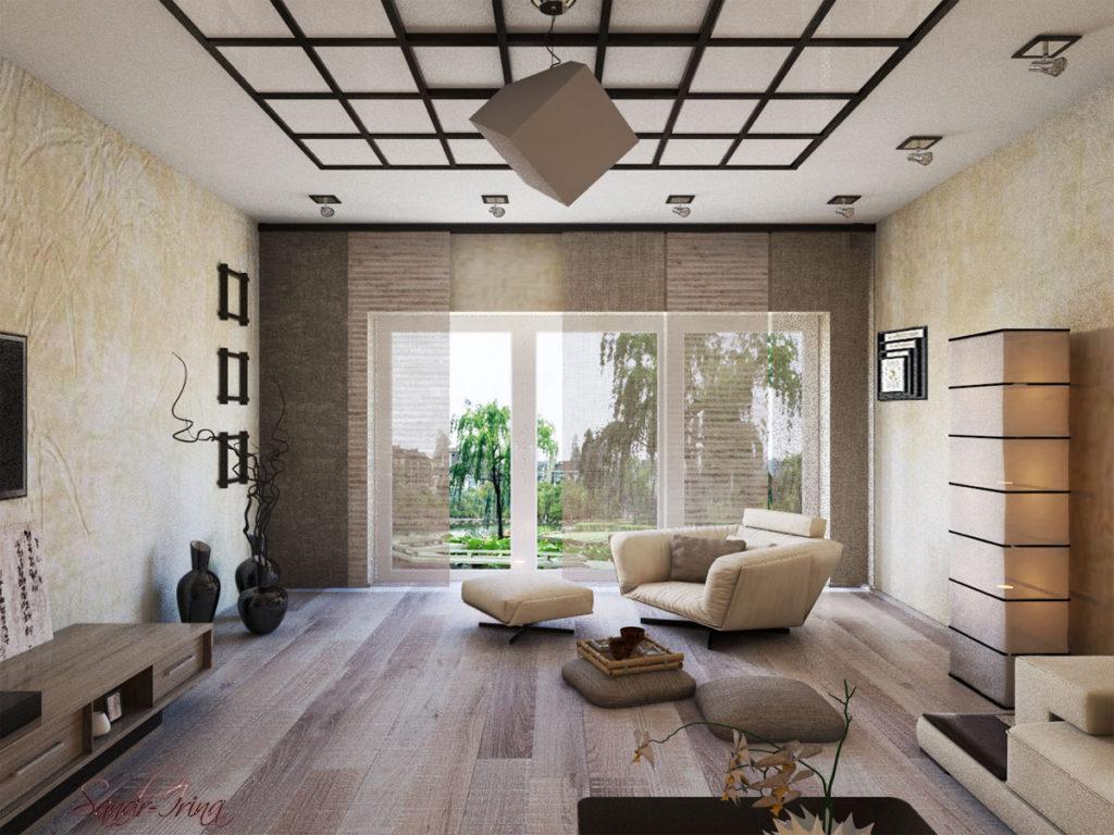 Светлый интерьер гостиной в японском стиле