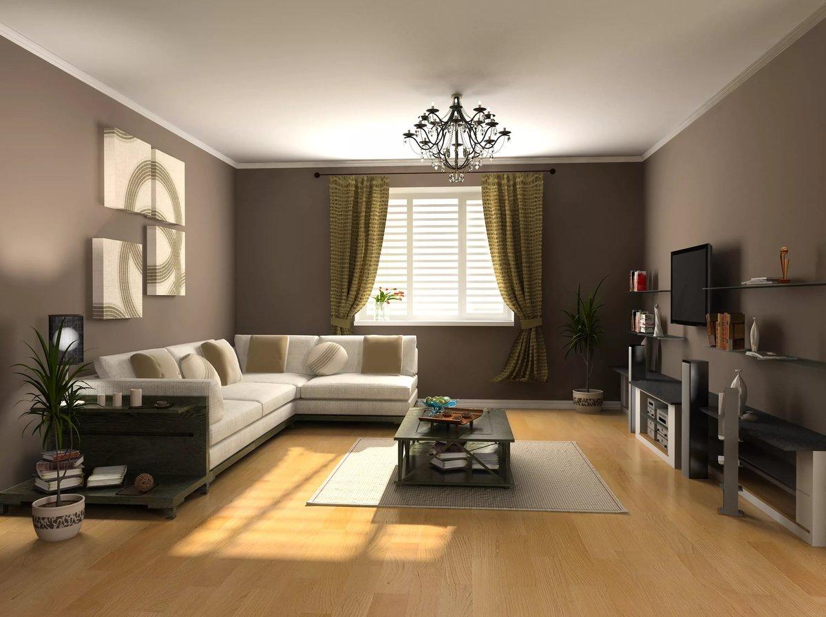 Интерьер гостиной с темными стенами
