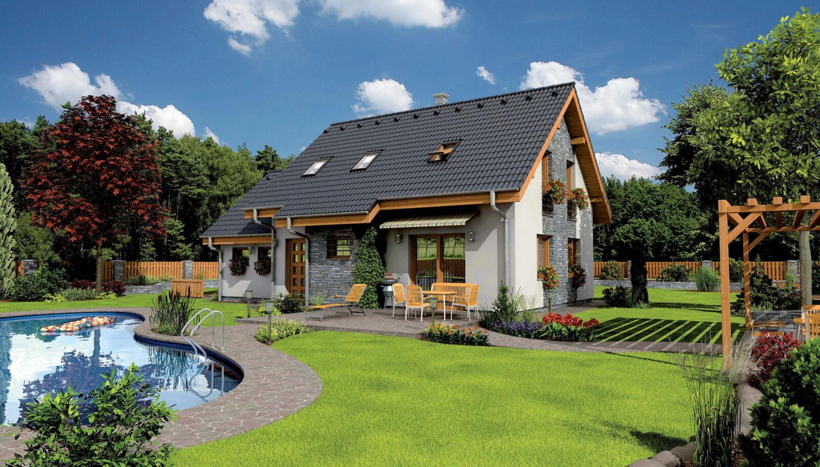 Красивый дом на земельном участке